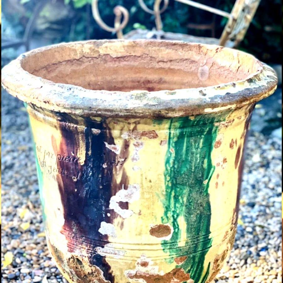 Beau Vase D'anduze, Fin 19ième Vernissé Jaune, Brun Et Vert